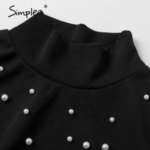 Image 5 - Simplee Borda dolcevita perla più il formato camicetta delle donne camicia Casual di usura del lavoro elegante pullover top manica lunga Primavera blsus