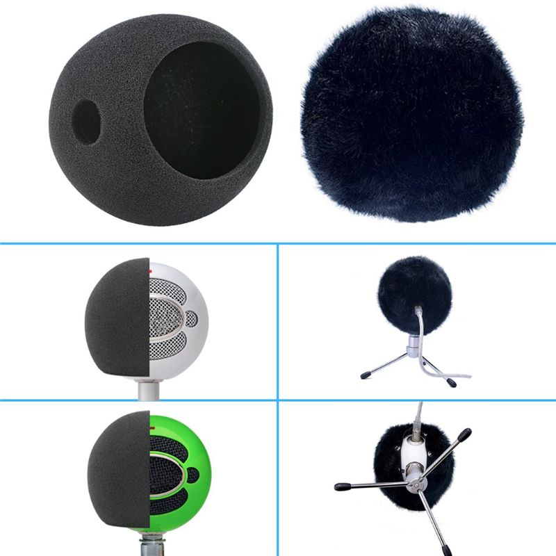 Foam Microphone Wind Cover Sponge Filter Artificial Fur Muff Mic Windscreen Windproof Shield for <font><b>Blue</b></font> <font><b>Snowball</b></font> Condenser Microph image