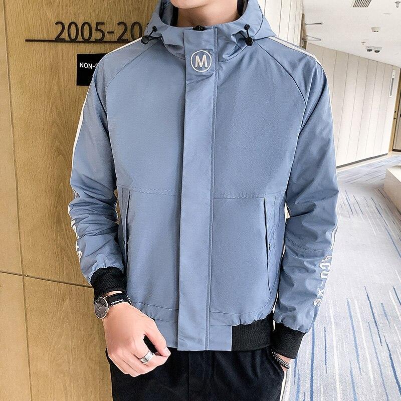 Men Hooded Jackets Coat Trends Embroidery Men's Jackets Black Blue Red  M-4XL Men Jackets Coat