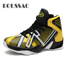 BOUSSAC Basketball Shoes for Men High Top Outdoor Athletic Trainers New Brand Sneakers Cleats Sport Shoes For Male Large Size boussac basketball shoes for men 2018 new high top sport comfort air cushion sneakers trainers basket homme zapatillas red