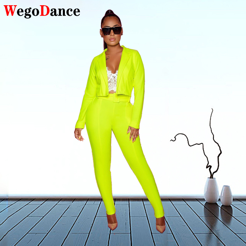 New Fashion Women Candy Colour Basic Blazer Coat And Pants Slim Suit Jacket Blazer Set