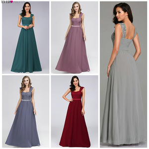 Image 2 - Grey Evening Dresses Long Ever Pretty Elegant A Line Sleeveless Backless Lace Appliques Wedding Guest Dress Party Gown Vestidos