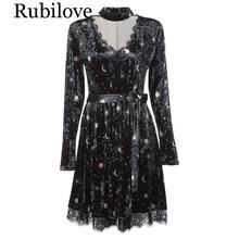 Rubilove Women Spring Velour Dress Trendy V Neck Long Sleeve Choker Spliced Lace Belted Moon Print Party Dresses Vestidos