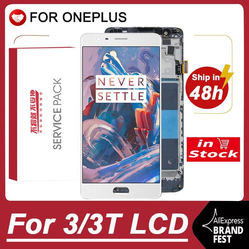 OLED / 100% оригинальный 5,5 ''AMOLED дисплей Замена для Oneplus 3 ЖК-дисплей сенсорный экран для OnePlus 3T A3000 ЖК-экран