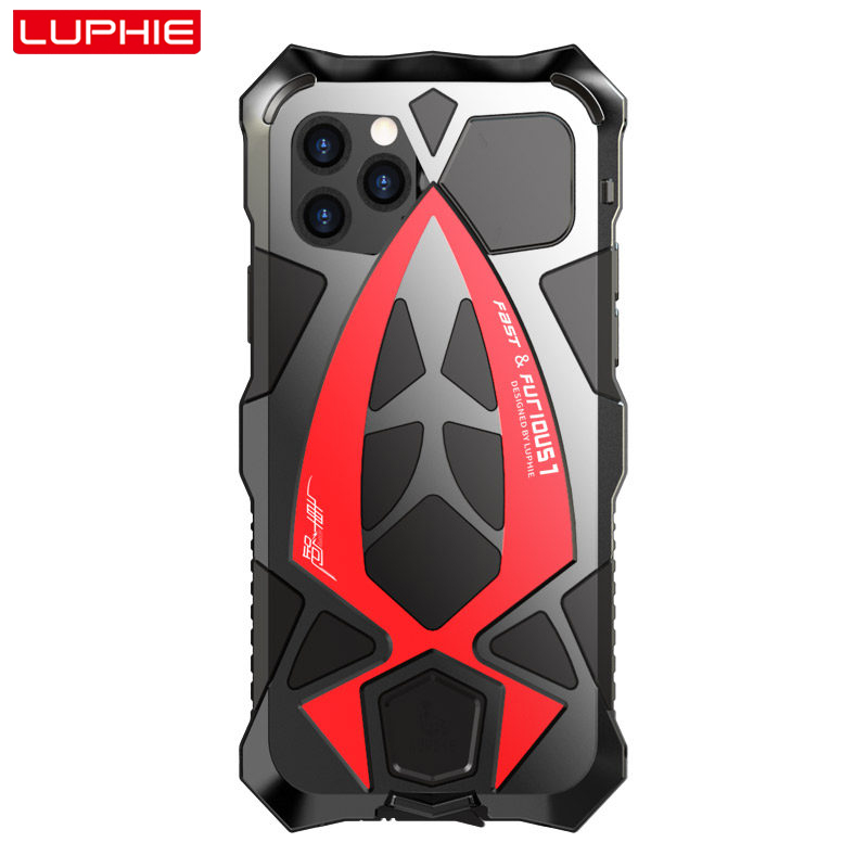 LUPHIE Luxury SportsCar Case For iPhone 11 Pro Max Shockproof Armor Aluminum Case For iPhone X XS Max XR Silicone Cover FundaFitted Cases   -