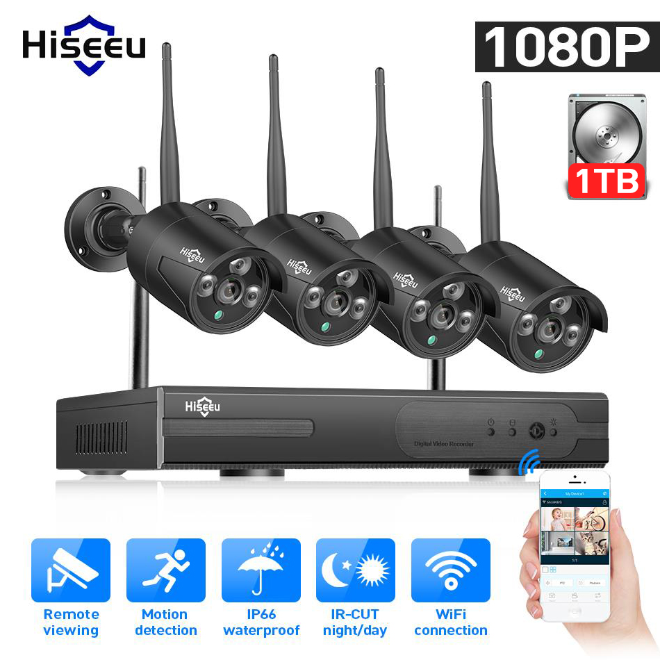 Hiseeu 8CH 1080P HD Outdoor IR Night Vision Video Surveillance 4pcs Security IP Camera 2MP WIFI CCTV System Wireless NVR Kit HDD