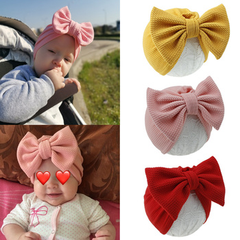 1pcs Solid Cotton Big Bow Hat Baby Kids Headbands Soft Comfortable Cat Turban Children Hair Accessories Band