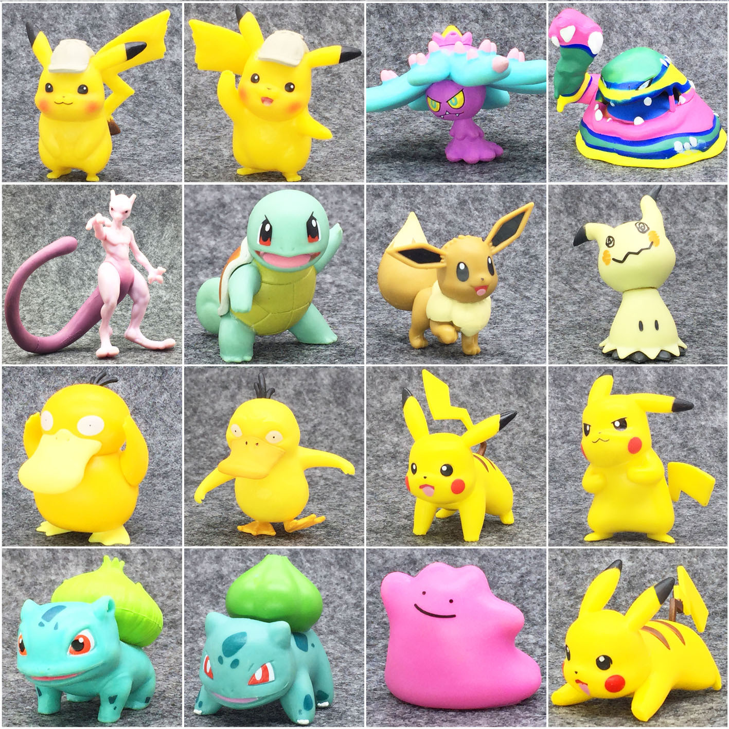 Takara Tomy Pokemon  Detective Pikachu Psyduck Mewtwo Bulbasaur Squirtle Eevee Anime Action & Toy Figures Model