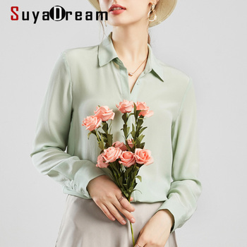 SuyaDream Women Silk Blouses 100% REAL SILK Solid Long Sleeved Basic Button Office Lady Blouse Shirt 2020 Chic Shirt