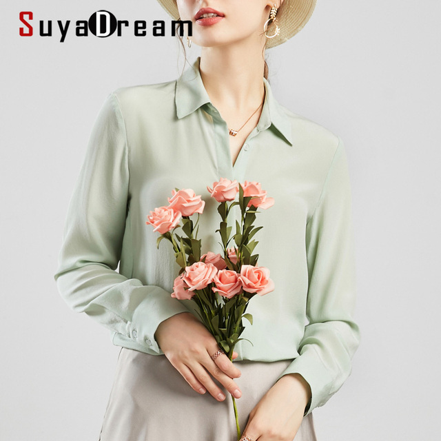 SuyaDream Women Silk Blouses 100% REAL SILK Solid Long Sleeved Basic Button Office Lady Blouse Shirt 2020 Chic Shirt 1