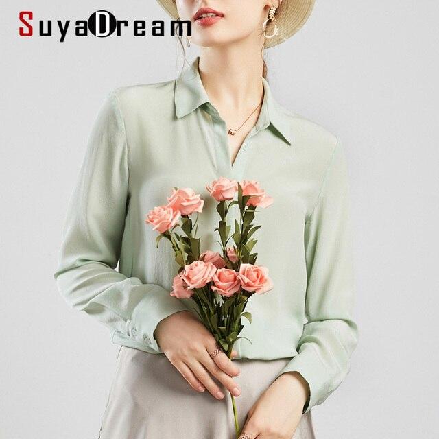 Suyadream mulheres blusas de seda 100% real seda sólida manga comprida botão básico escritório senhora blusa camisa 2020 chique camisa