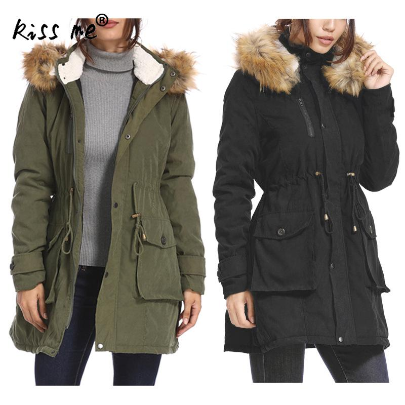 Solid Hooded Winter Outdoor Down Coat Waist Control Camping Hiking Down Jacket Thermal Warm Cotton Windbreaker Windproof Clothes