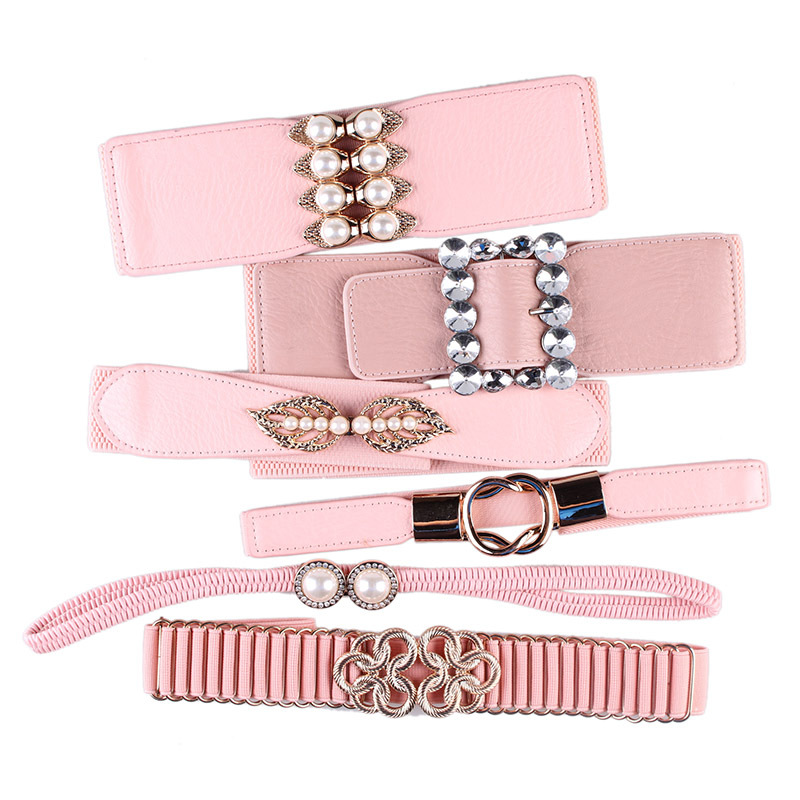 Designer Pink Elastic Belt Waist Seal Female Fashion Water Diamond Pearl Dress Accessories Accessories Pink Elastic Belt