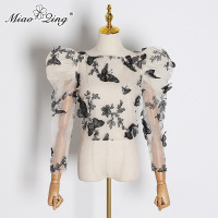 MIAOQING Embroidery Butterfly Mesh Shirt Women O Neck Puff Sleeve Top Perspective Blouse Female Fashion 2019 Tide