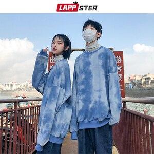 Image 2 - LAPPSTER Paar Übergroßen Streetwear Hoodies 2020 Herbst Männer Harajuku Koreanische Stil Sweatshirts Hoodie Tie Dye Orange Hoodie