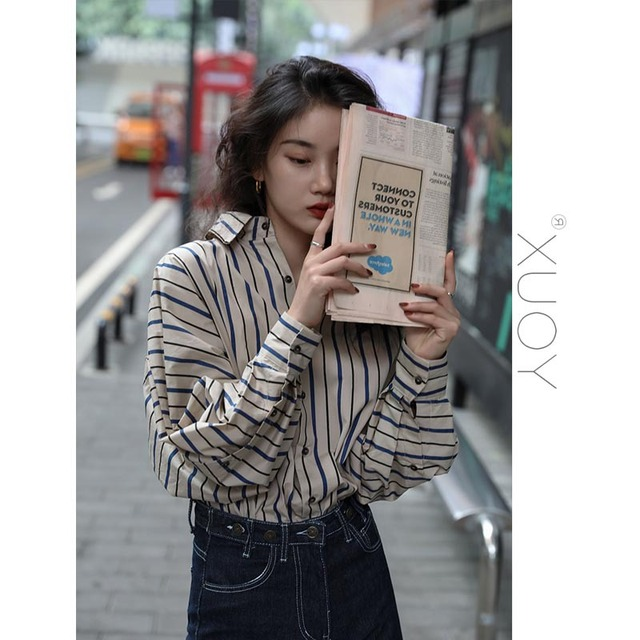 2020 New Blouse Women Casual Striped Top Shirts Blouses Female Loose Blusas Autumn Fall Casual Ladies Office Blouses Top Sexy 4