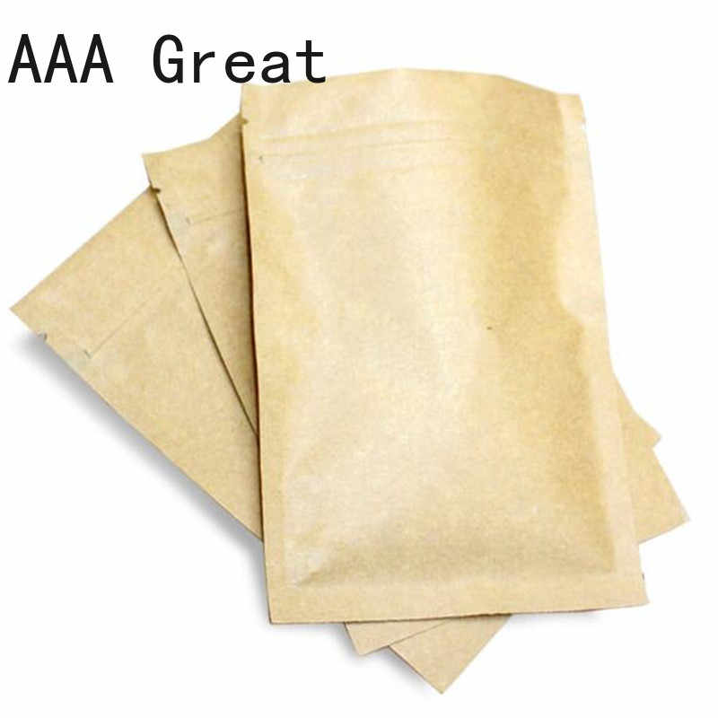 100Pcs/Lot Brown Kraft Paper Gift Candy Bag Wedding Packaging Pouches Recyclable Food Aluminum Foil Party Shopping Bags Zip Lock