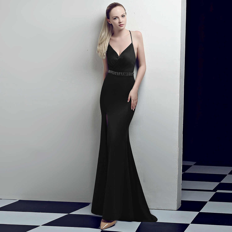 Custom Made Simple Purple Mermaid Avondjurk Satin V-hals Lange Prom Jurk Voor Bruiloft Vestido De Noche