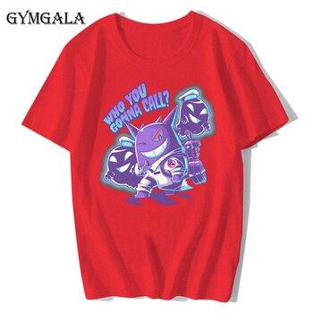 100% cotton anime cartoon Geng ghost printed men's T-shirt summer cotton short-sleeved T-shirt fashion tops tee men's clothing f - XQ-122red, Asian size XS