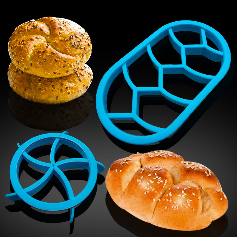 2PCS Stampo Stampi Per Pane Dough Roll Press Stamp Kaiser Roll Maker Mold Cake Bread Seal Cutter Tools for Baking Pastry Mold image