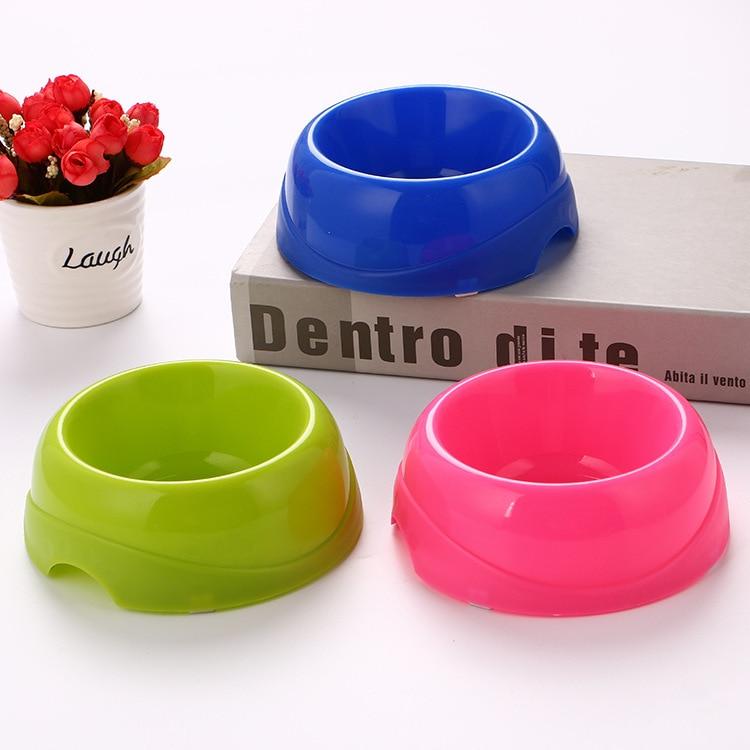 Economical Plastic Pet Bowl Candy-Colored Dog Bowl Circle Single Bowl Food Basin Pet Tableware Rice Bowl