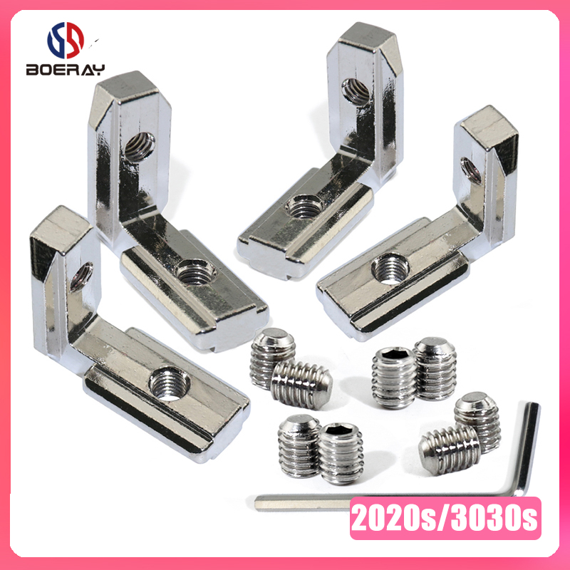 16pcs/20pcs L Shape Type Interior Inner Corner Connector Joint Bracket For 2020/3030 Aluminum Profile (with Screw+wrench)
