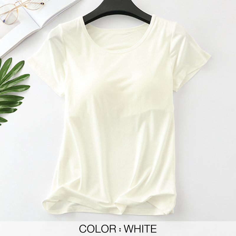 Women's T-Shirts Built-in Bra Padded Tshirts Tops For Women Push-Up Stretchable Modal Short Sleeve Sexy Casual