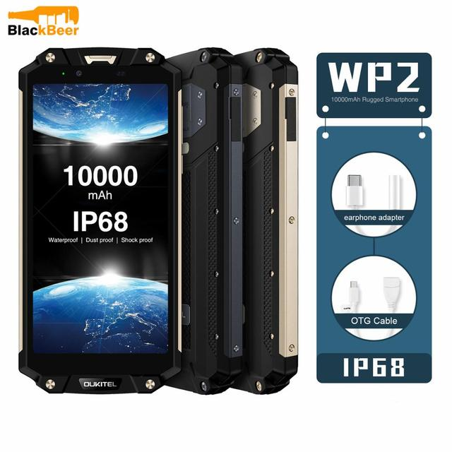 OUKITEL WP2 6.0 Inch Smartphone IP68 Waterproof Mobile Phone 4GB 64GB MT6750T Octa Core Cellphone 10000mAh NFC Quick Charge OTG