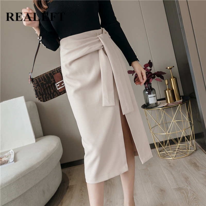 REALEFT Spring 2020 New Women Elegant Sheath Wrap Skirts Front Split Korean OL Style High Waist Chic Work Wear Drawing Skirts