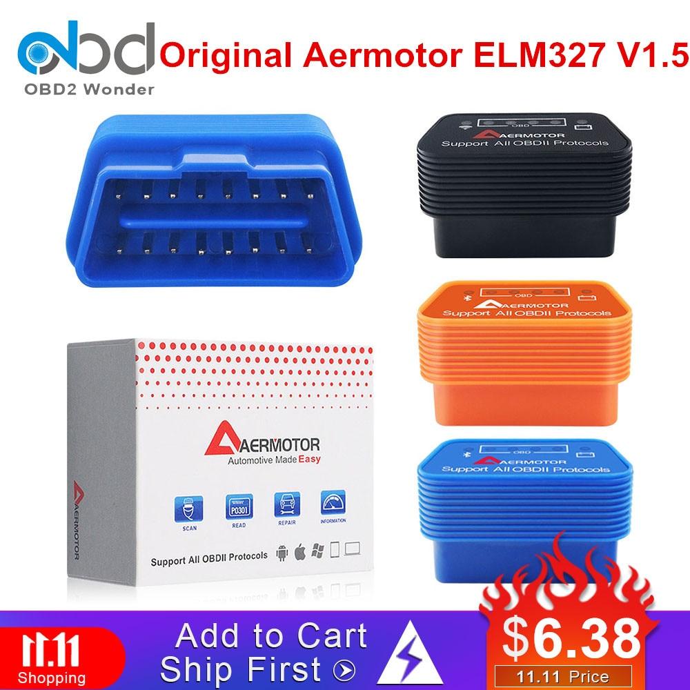 New Brand Aermotor Bluetooth 4.0 ELM327 1.5 Wifi/Bluetooth IOS Android Windows ELM 327 V1.5 For All OBD2 OBDII Protocols Cars