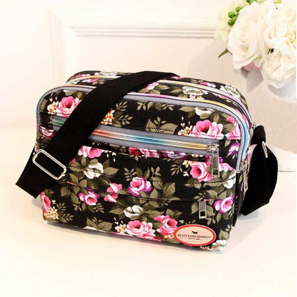 Maquillage organisateur sac femmes toile sac à bandoulière sac à bandoulière sac de messager sac cosmétique à fleurs # YJ