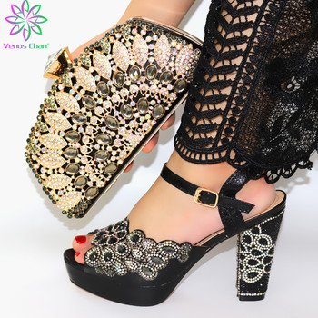 Black Color Women Shoes and Bag Set In Italy High Quality Italy Shoe and Bag Set 2019 Nigerian Women Wedding Shoes and Bag Sets