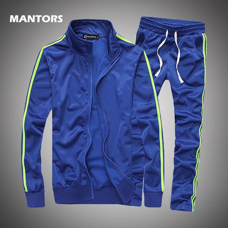 Autumn Winter Men's Sets Casual Stripe Tracksuit Solid Sportswear Slim Men Clothing Zipper Jacket+Sweatpants 2 Pieces Plus Size