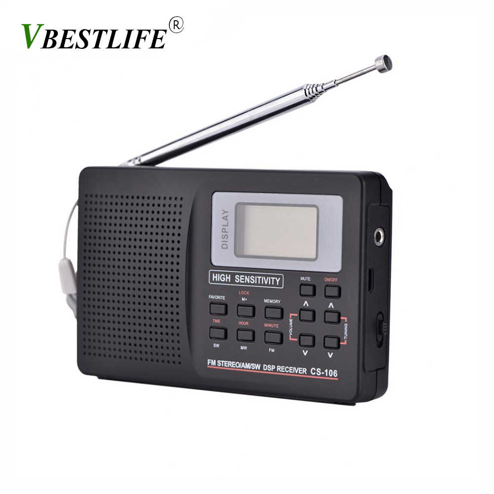 VBESTLIFE mini Portable Radio fm Support FM/AM/SW/LW/TV Sound Full frequency Radios Receiver Alarm Clock FM Radio Mini Radio