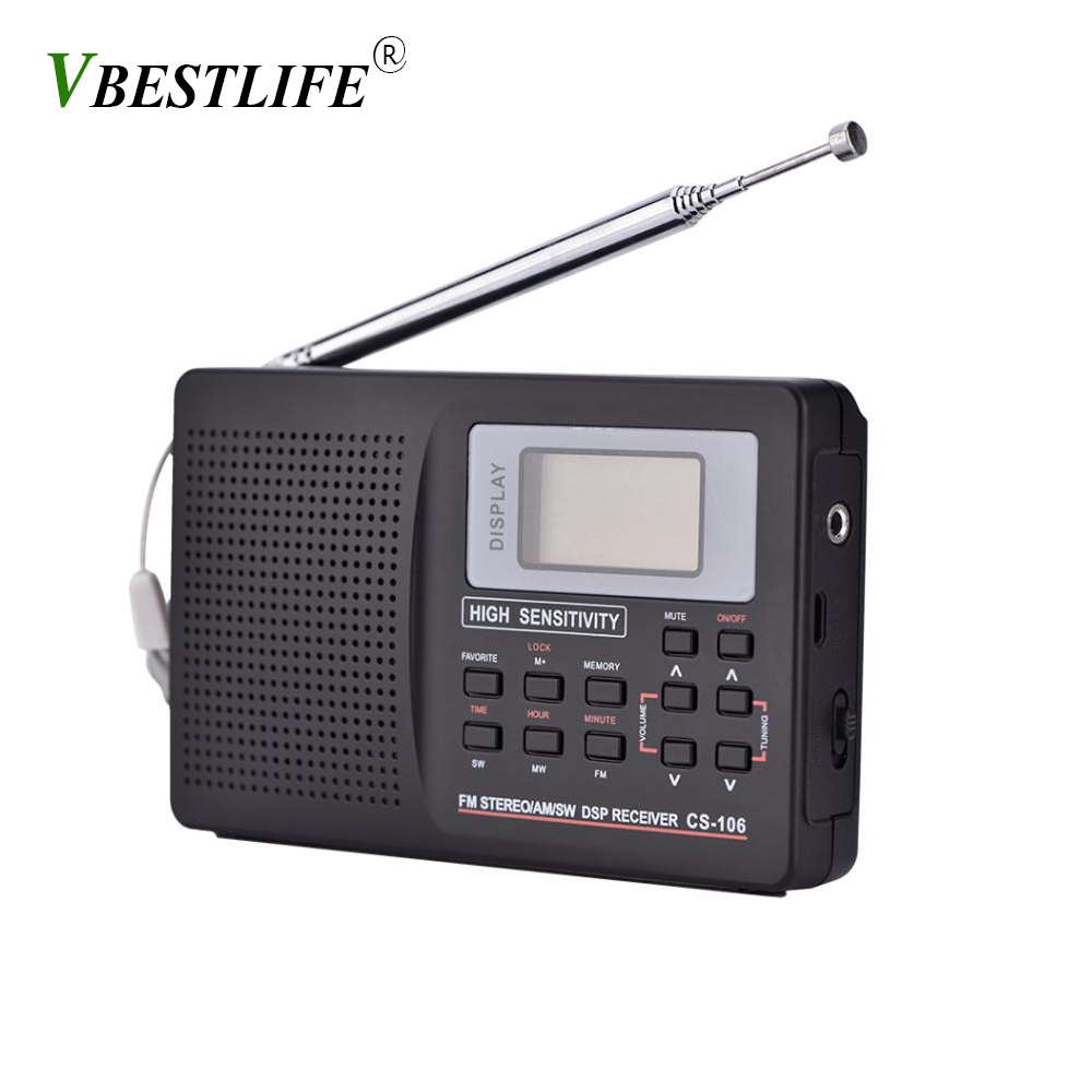 VBESTLIFE mini Portable Radio fm Support FM/AM/SW/LW/TV Sound Full frequency Radios Receiver Alarm Clock FM Radio Mini Radio image