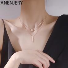 ANENJERY 925 Sterling Silber Doppel Schicht Lange Stick Anhänger Halsketten für Frauen Mikro Pflastern Zirkon Geometrische Halskette S-N712