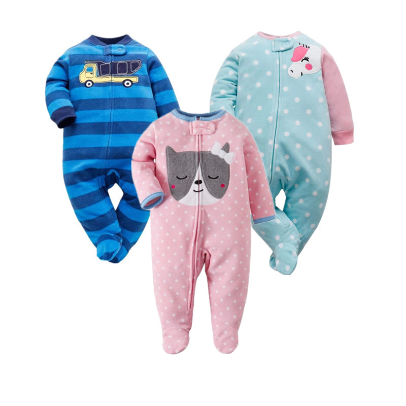 2019 Newborn Baby Boys Girls Fleece Zip Footed Rompers Infant Long Sleeve One-piece Clothes Kid Catton Tops Baby Pajamas
