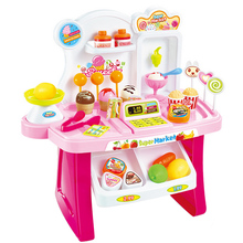 34 Pcs Kids Plastic Supermarket Cash Register Toy Miniature Pretend Play House Toys Shopping Brinquedo Cashier Desk POS Toy Set everybody pretend play toys plastic toy supermarket toy shopping simulation baby educational toys wholesale