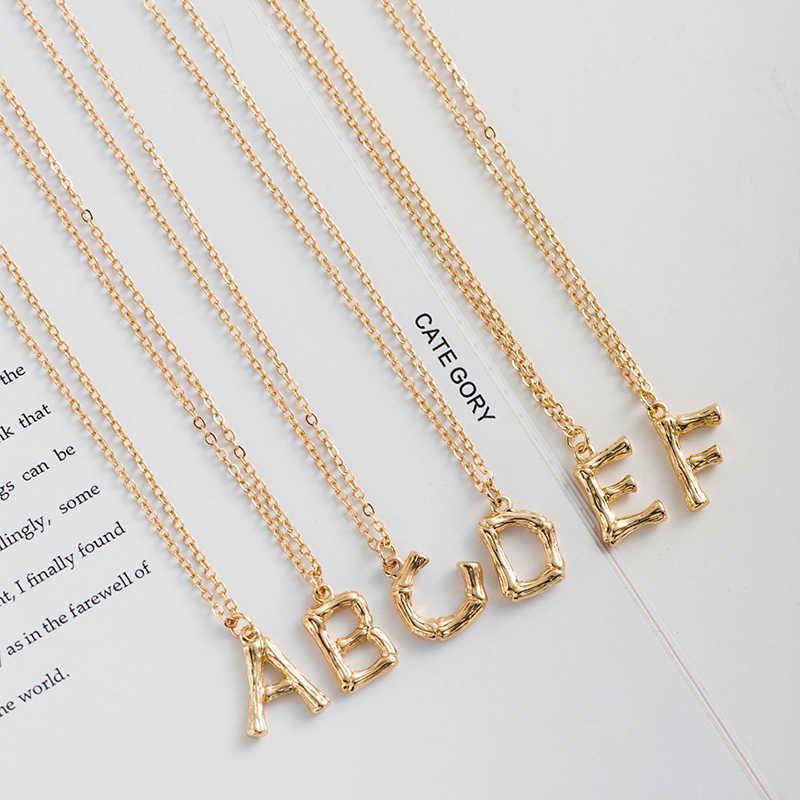 Gorączka i darmowe kobiety mody małe złota litera naszyjnik Big Bamboo początkowy naszyjnik dla dziewczyn najlepsze prezenty kapitału biżuteria 2019