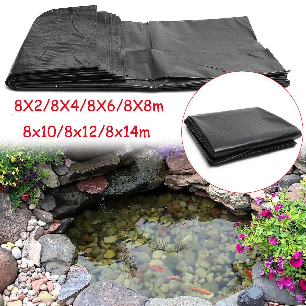 EPDM Rubber Pond Liner Fish Pond Liner Garden Pond Landscaping Pool Thick Heavy Duty Waterproof Membrane Liner Cloth 8m 7 Sizes