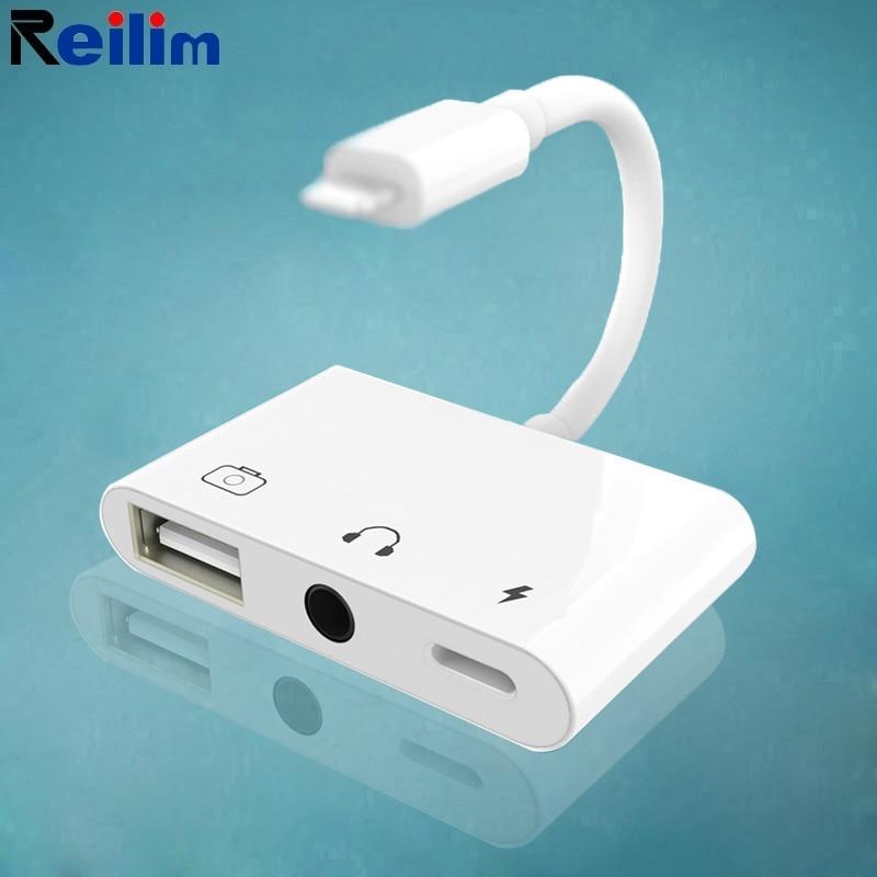 Адаптер Reilim OTG с Lightning на аудиоразъем 3,5 мм, USB-переходник для клавиатуры, наушников, динамиков для iPhone XS XR iPad/iPod ios 14