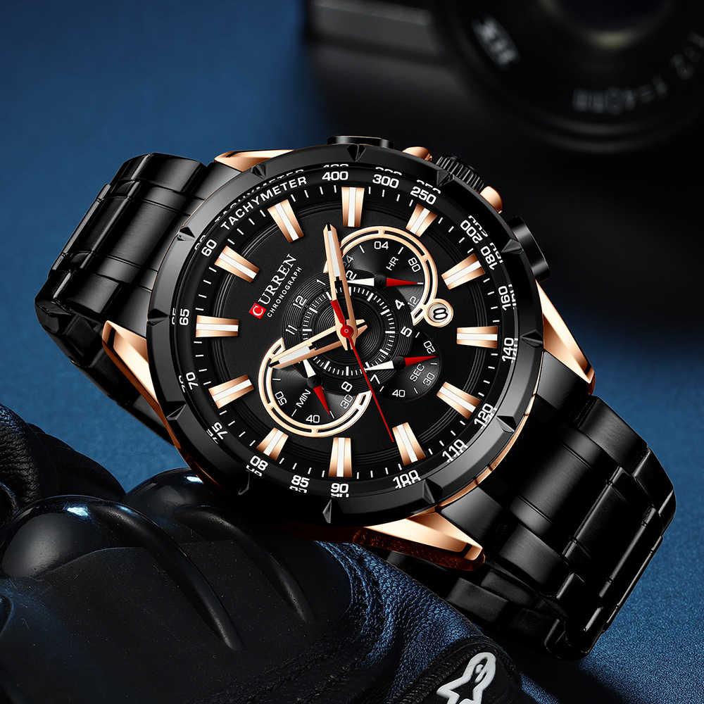 CURREN Neue Kausalen Sport Chronograph herren Uhr Edelstahl Band Armbanduhr Große Zifferblatt Quarz Uhren mit Leucht-Pointer