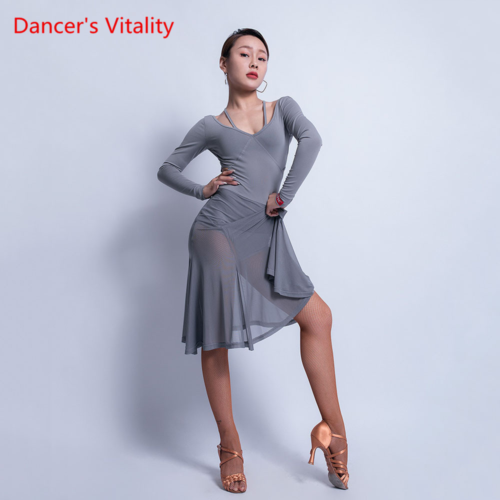 Latin Dance Skirt Exercise Clothes Female Adult Sexy Dress Dancing Clothes Autumn And Winter New Performance Clothing