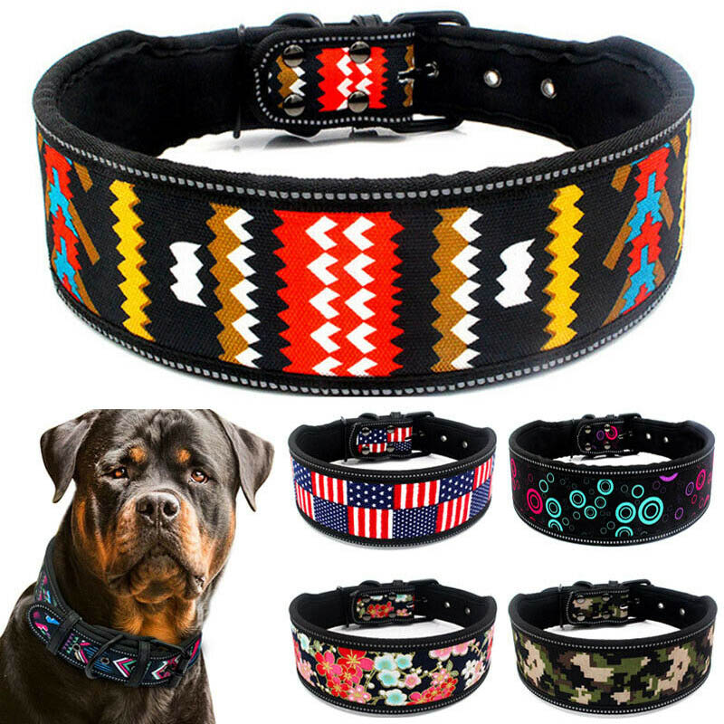 Nylon Dog Collar Reflective Adjustable Pet Collars for Medium Large Dogs S M L Size