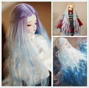 Muziwig 2020 novo estilo 1/3 1/4 1/6 bjd peruca de fibra de alta temperatura longa moda colorido ondulado fio bjd peruca sd para russiabjd boneca