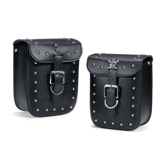 Für Softail/Dyna 1 Set Schwarz Wasserdicht Racing Motorrad Werkzeug Tasche Satteltaschen Reisetaschen Koffer Gepäck mit Niet Schädel