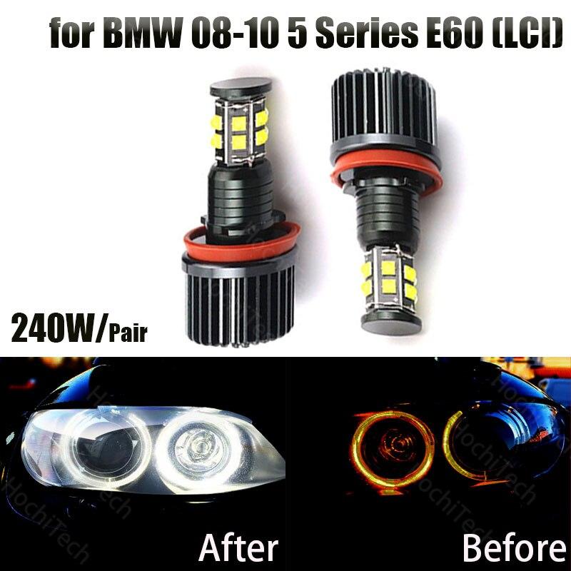 120W 6000K Белый H8 светодиодный ангельские глазки Светодиодный Маркер для BMW 2008-2010 5 серии E60 (LCI)