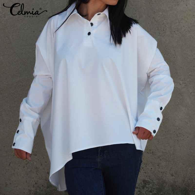 Размера плюс 2019 Celmia осень модная блуза Для женщин Винтаж Асимметричный топ на пуговицах Повседневное рукав рубашки Blusas 5XL