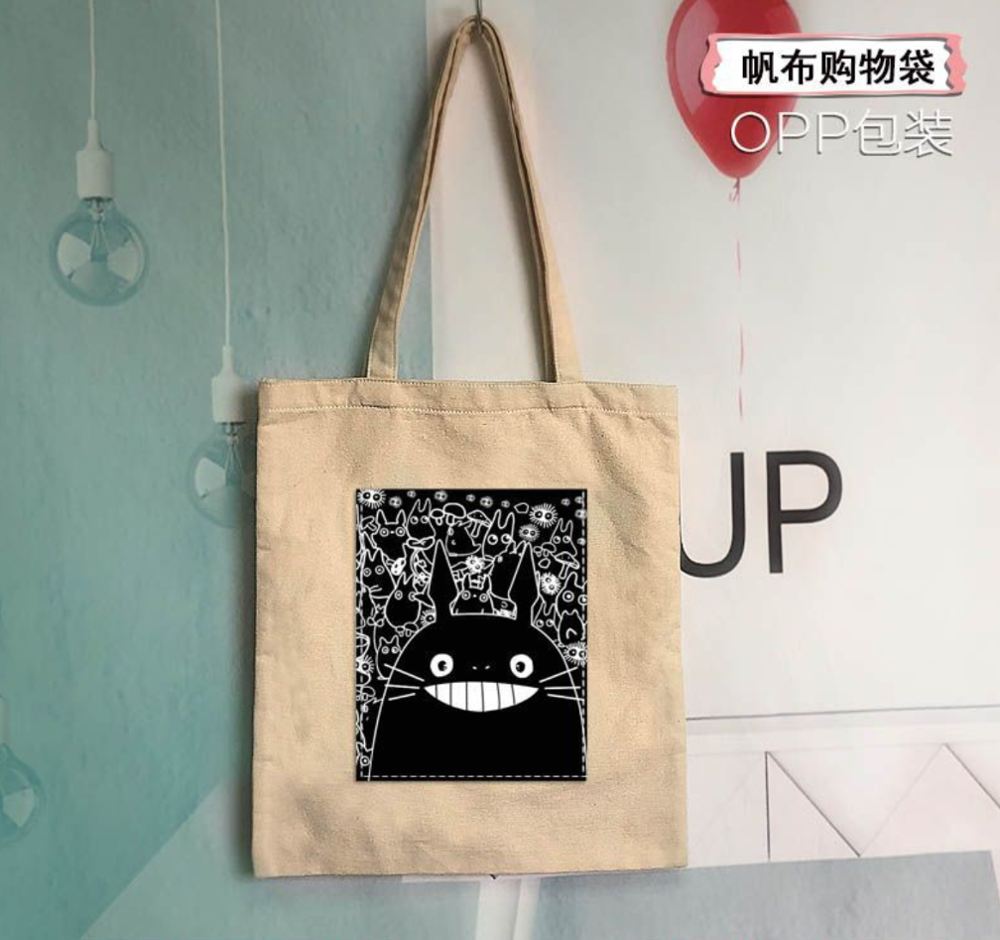 Miyazaki Hayao Tonari no Totoro Movie Character Toy Canvas Shopping Bag Stylish Simplicity Male And Female Student Shoulder Bags image