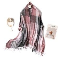 Women Winter Scarf Fashion Plaid Pashmina Scarves Warm Cashmere Tassels Bufanda Femme Shawls Wraps Scarfs dean dean tbx cbk